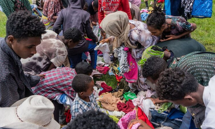 Gatazkatik ihes egindako herritarrak artatzeko kanpalekua, Dese hirian, Amhara estatuan.