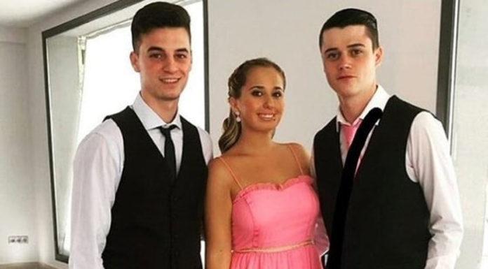 Andrea Janeiro junto a su novio y su primo - Fuente: Voz Libre